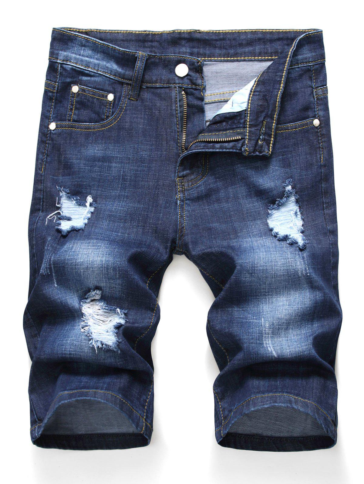 Sale Zipper Fly Design Ripped Denim Shorts