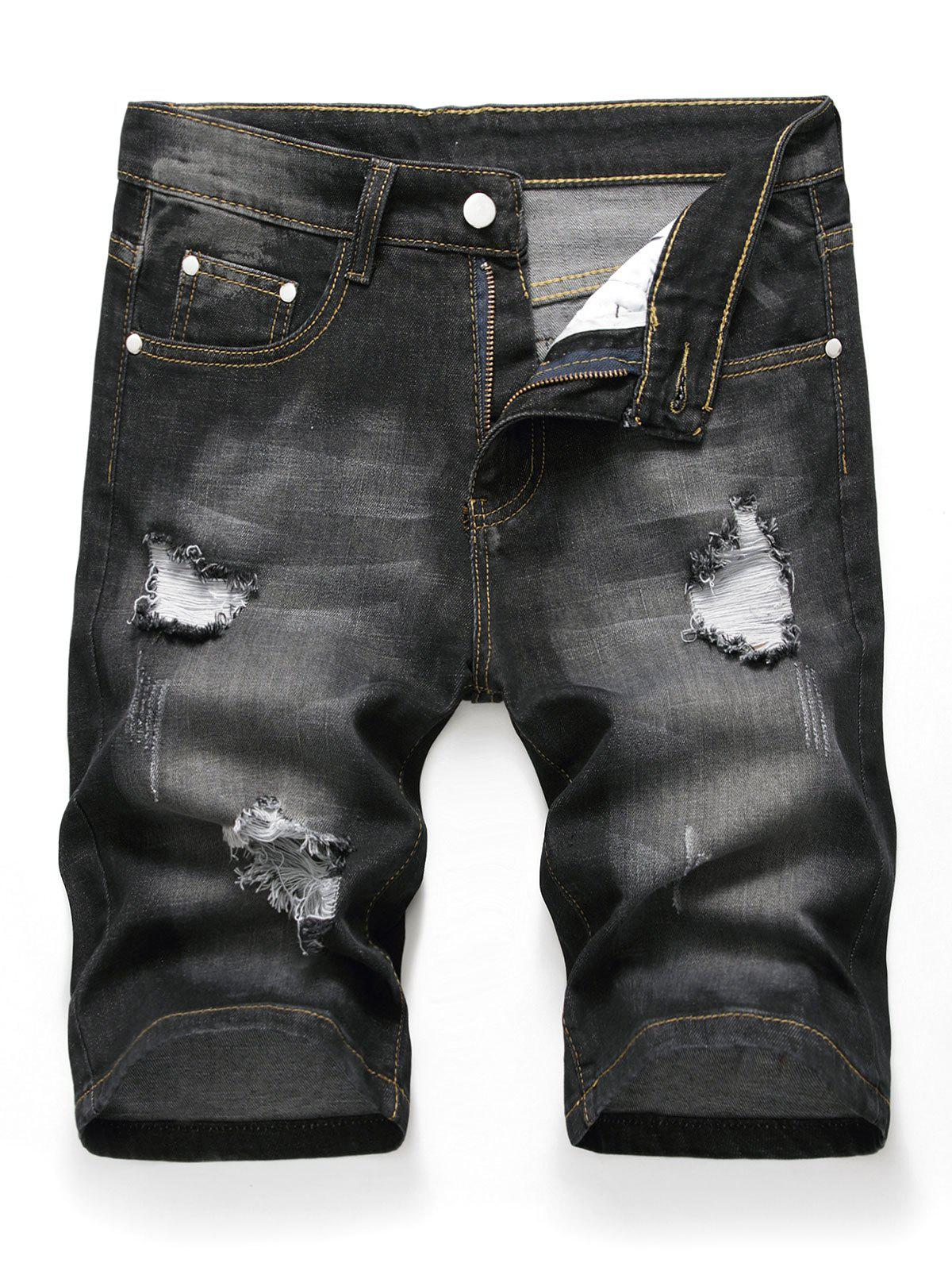 New Zipper Fly Design Ripped Denim Shorts