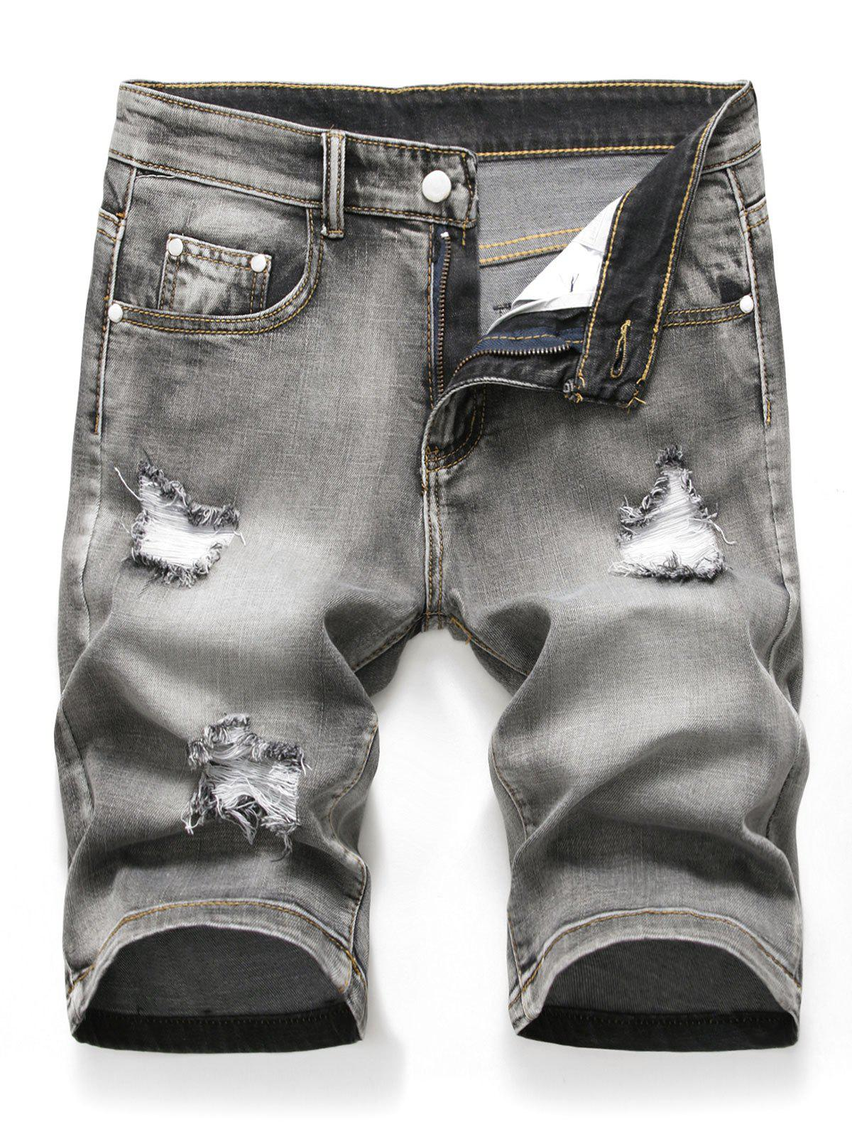 Online Zipper Fly Design Ripped Denim Shorts