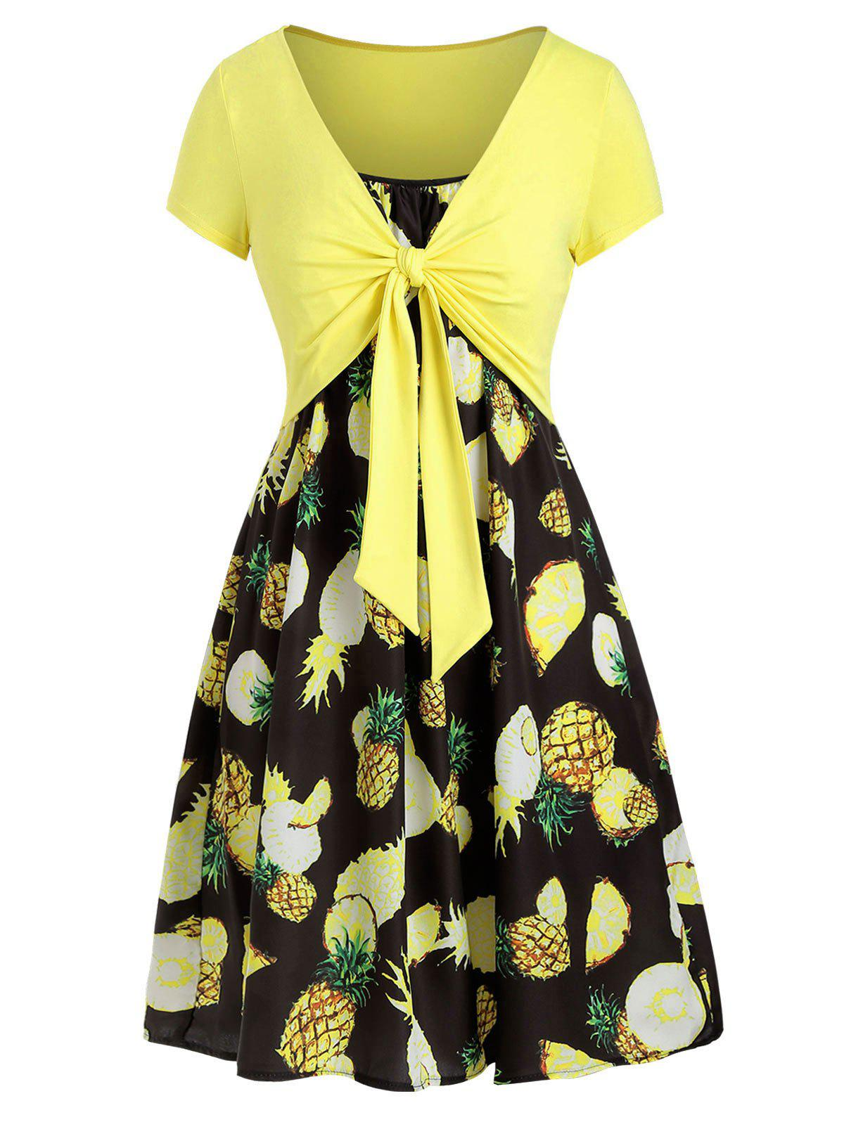 Fashion Cami Pineapple Dress with T-shirt