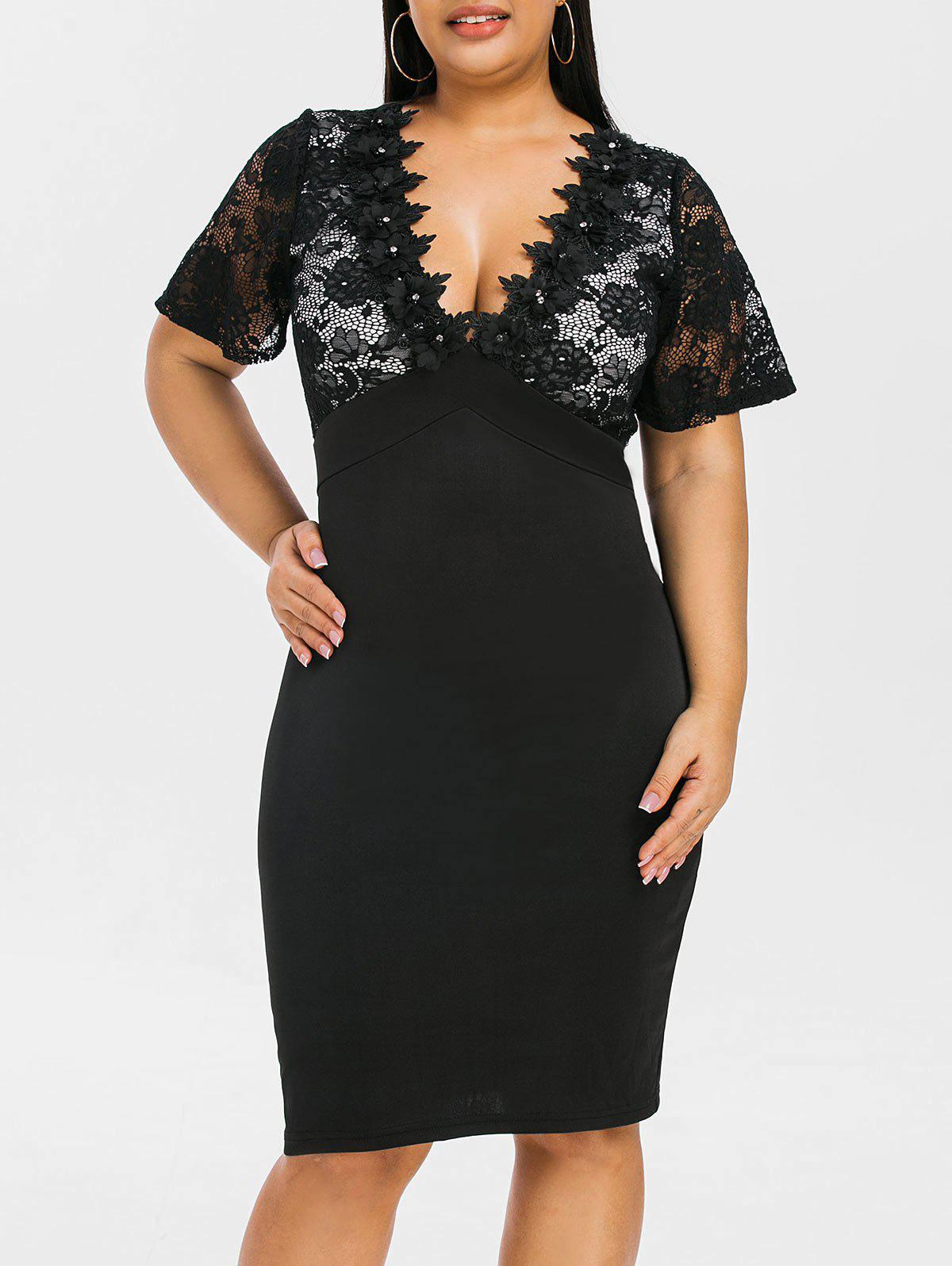 Outfit Plus Size Lace Panel See Thru Plunge Bodycon Dress