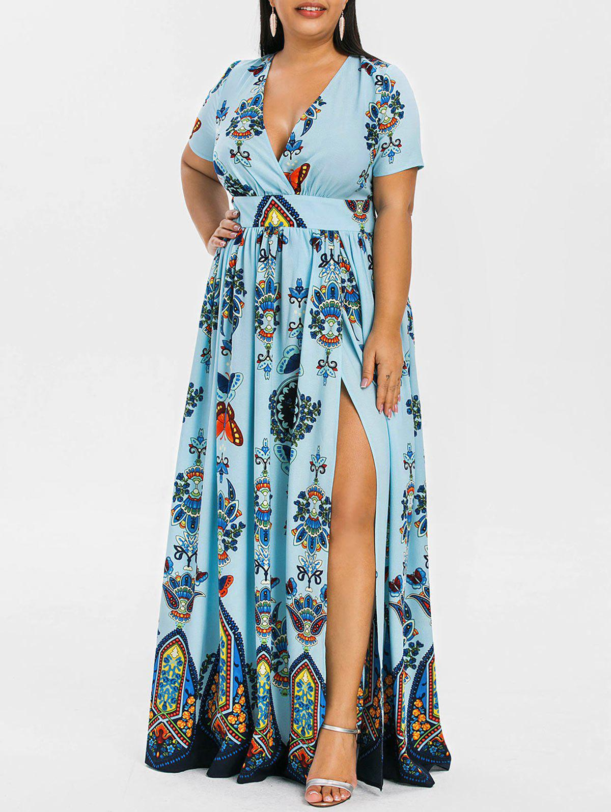 2885670aa27 48% OFF  Plus Size High Waist Maxi Slit Dress