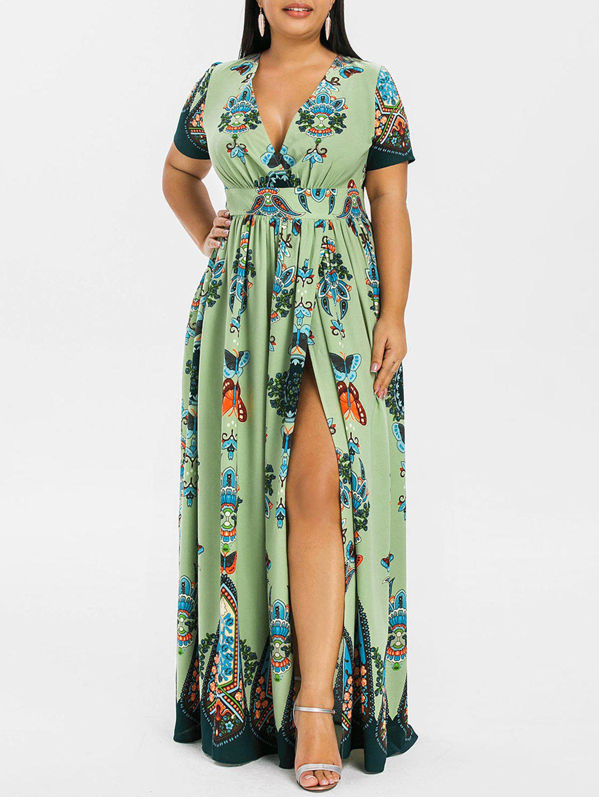 397a20dcd5 37% OFF] Plus Size High Waist Maxi Slit Dress | Rosegal