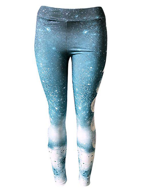 Discount Galaxy Moon Print Skinny Leggings