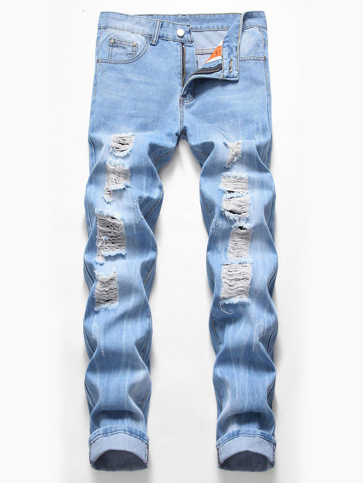 Store Zip Fly Design Ripped Casual Jeans