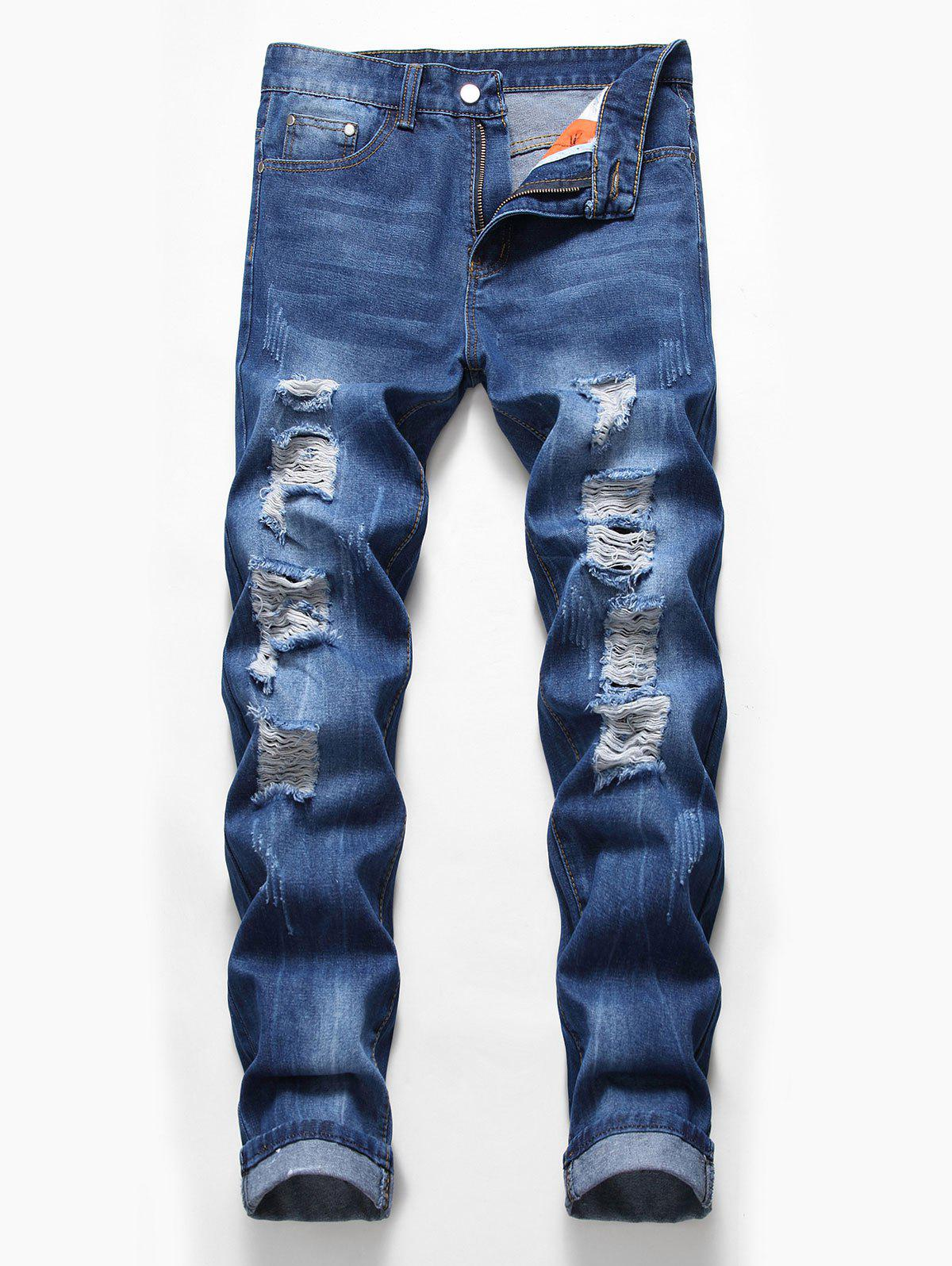 Zip Fly Design Ripped Casual Jeans, Denim dark blue