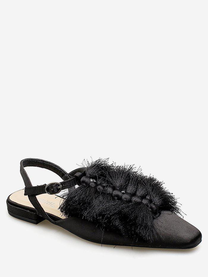 Outfit Fringed Square Toe Flat Sandals