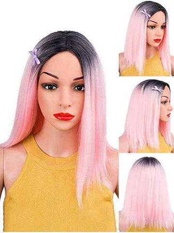Long Straight Gradient Center Part Synthetic Wig
