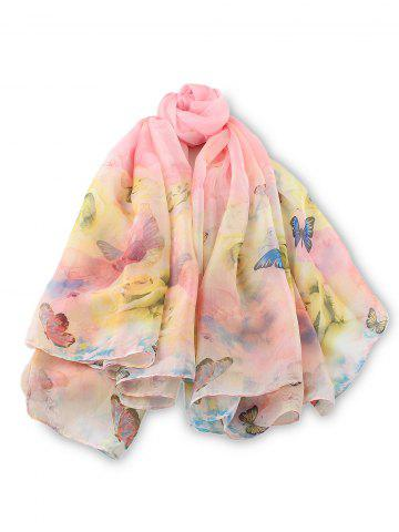Silk Butterfly Floral Print Long Scarf