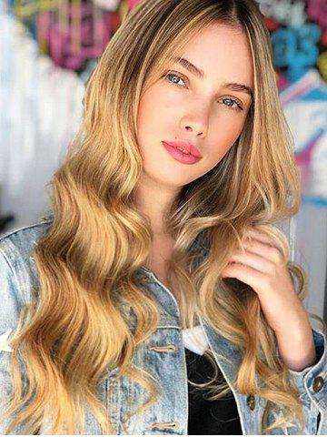 Center Part Body Wavy Long Gradient Synthetic Wig