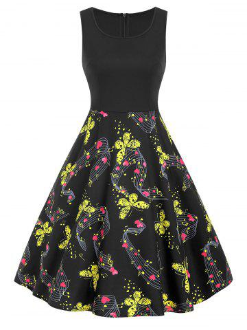 e4e2b96f8c Music Notes and Butterfly Print Plus Size A Line Dress