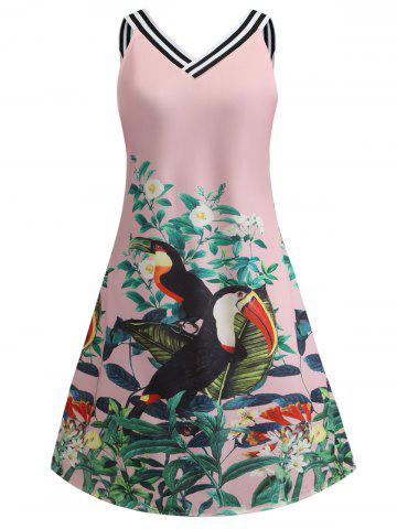 Flower Bird Print A Line Casual Dress