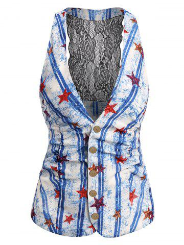 Plunge Lace Panel American Flag Tank Top