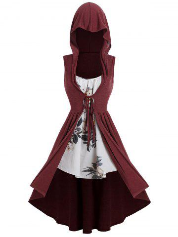 Plus Size Hooded Tied Long Vest with Floral Cami Top Twinset
