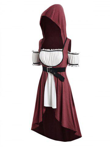 Plus Size Hooded Faux Twinset Long Punk T-shirt - RED WINE - L