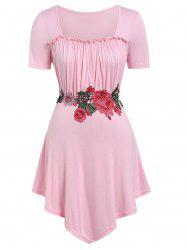 Floral Embroidery Plus Size Square Neck T-shirt -