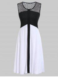 Fishnet Panel Two Tone Casual Dress -