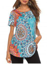 Flower Half Button T-shirt -