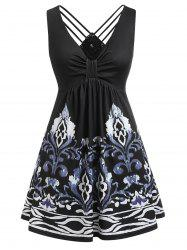 Plus Size Knotted Plunging Strappy Dress -