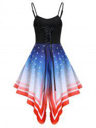 Asymmetric American Flag Lace-up Cami Dress -