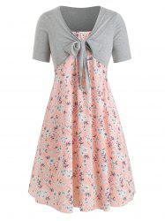 Plus Size Floral Cami Dress And Front Knot T-shirt Twinset -