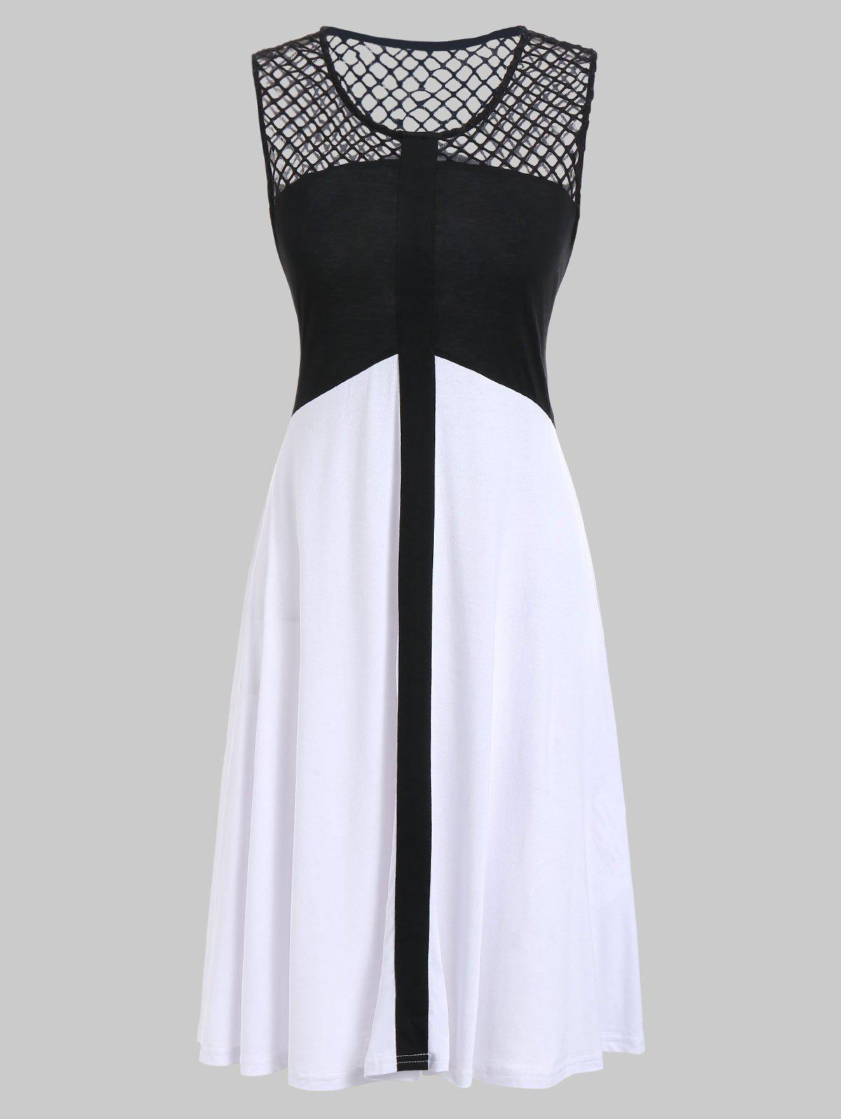 Affordable Fishnet Panel Two Tone Casual Dress