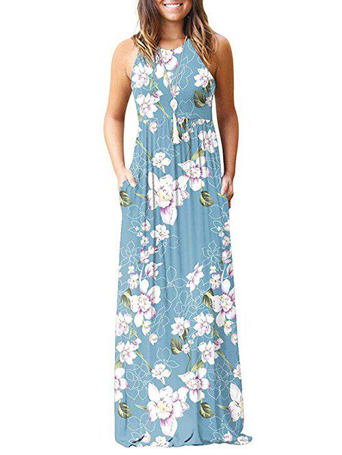 Fancy Flower Pockets Maxi Dress