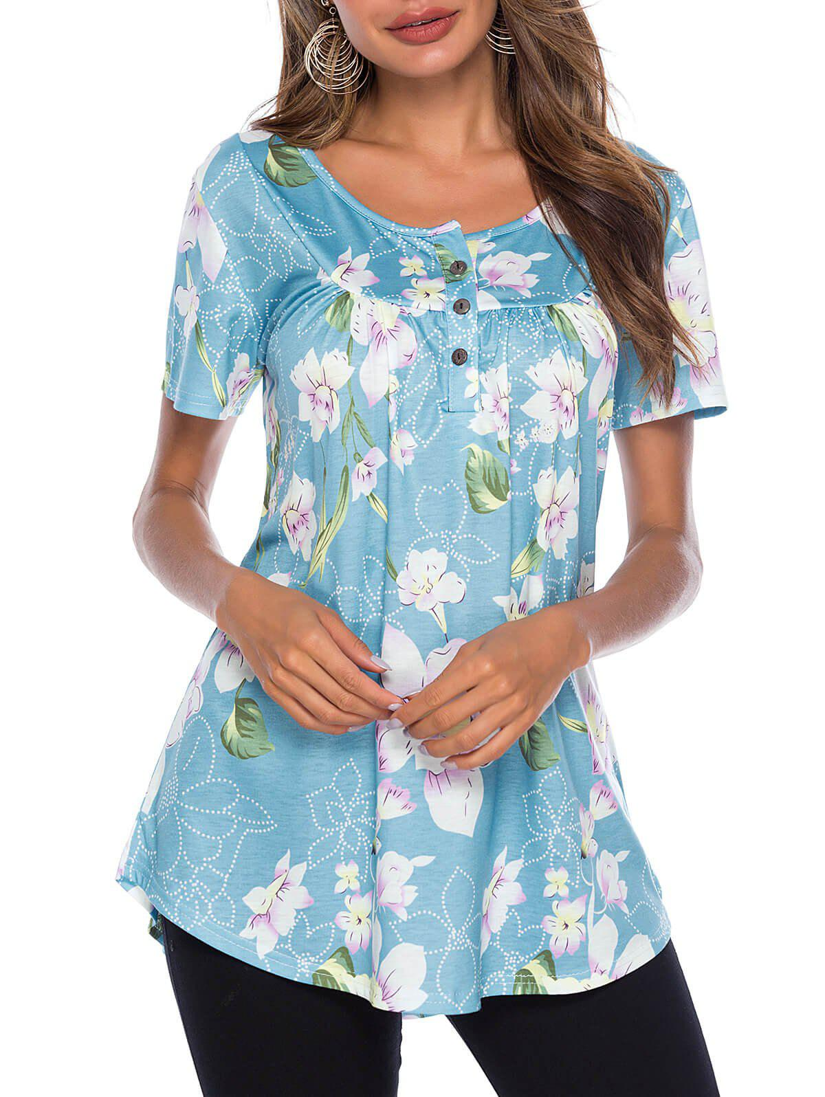 Best Flower Half Button T-shirt
