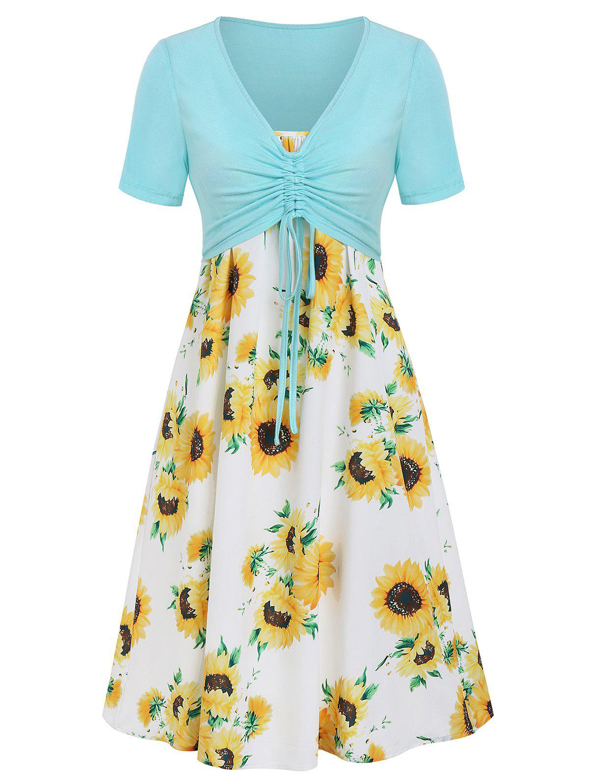 Store Cami Sunflower Dress with Plunging T-shirt