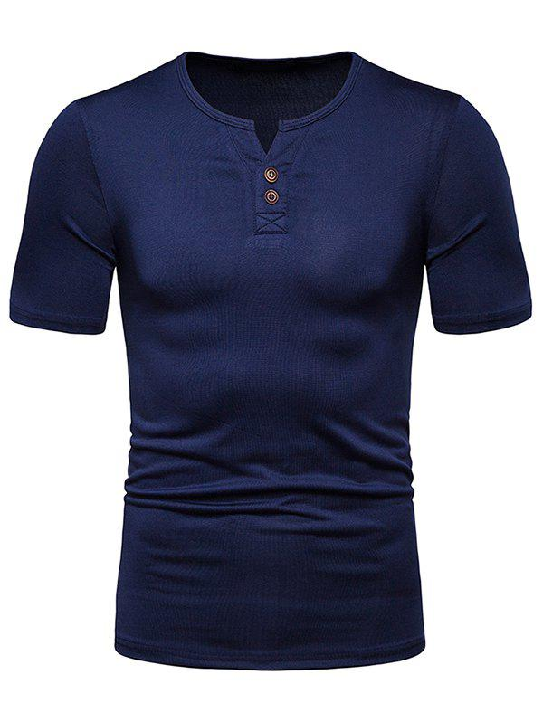 Latest Solid Color Henley T Shirt