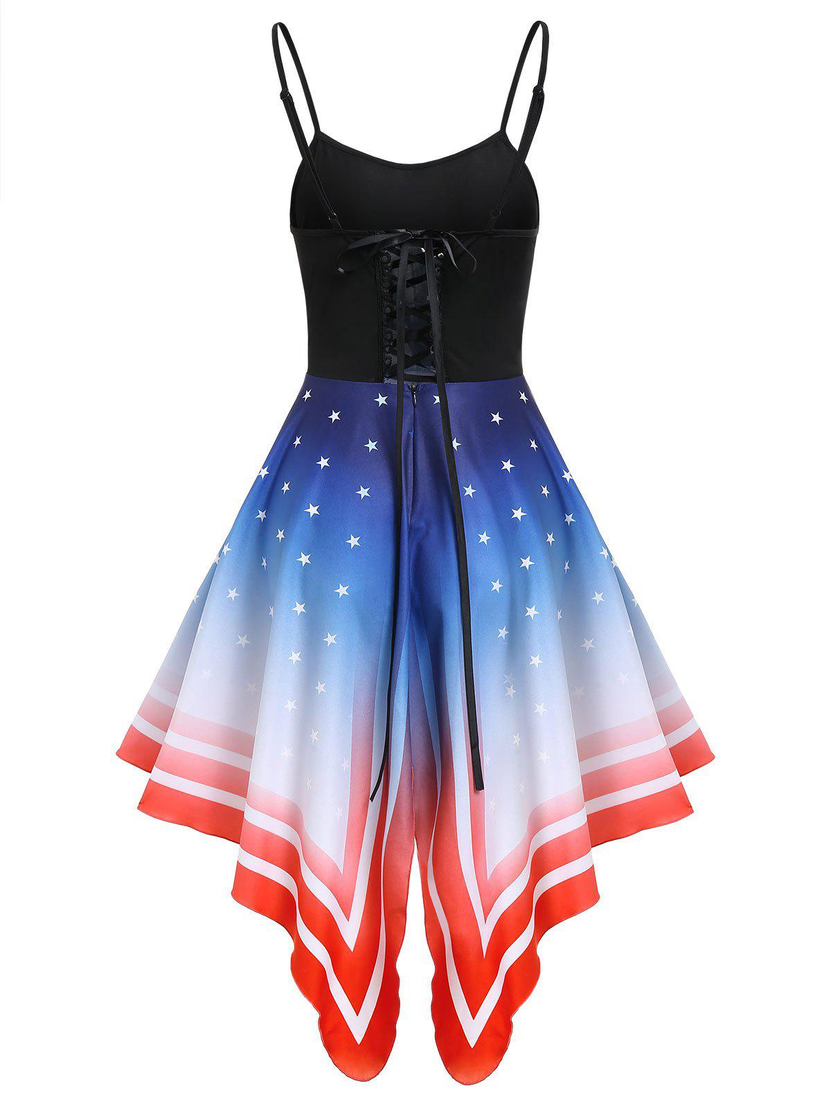Outfits Asymmetric American Flag Lace-up Cami Dress