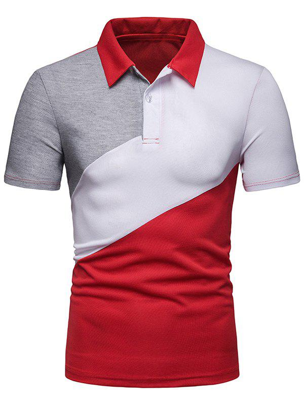 Color Block Casual T Shirt, Red