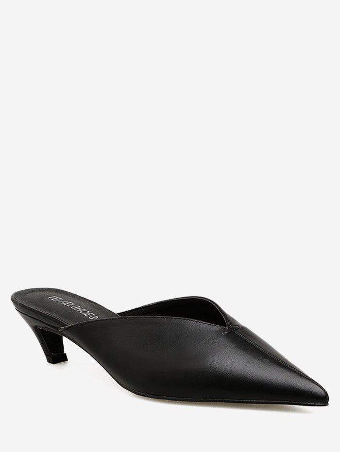 2ab588115 41% OFF] Pointed Toe Leather Kitten Heel Mules | Rosegal