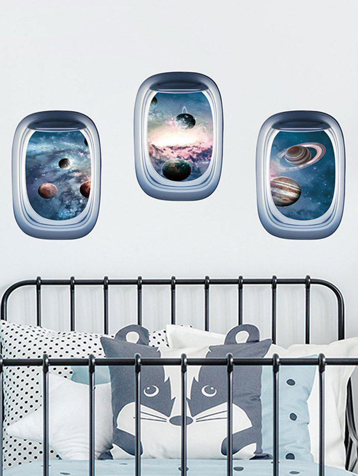 Aircraft Window Universe Planets Print Removable Wall Art Stickers
