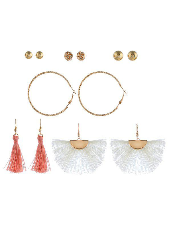 Fancy 6Pairs Button Tassel Earrings Set