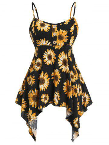e2dbd0bc7b7317 Plus Size Asymmetric Sunflower Print Tank Top