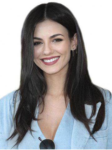 Center Part Natural Straight Long Synthetic Wig
