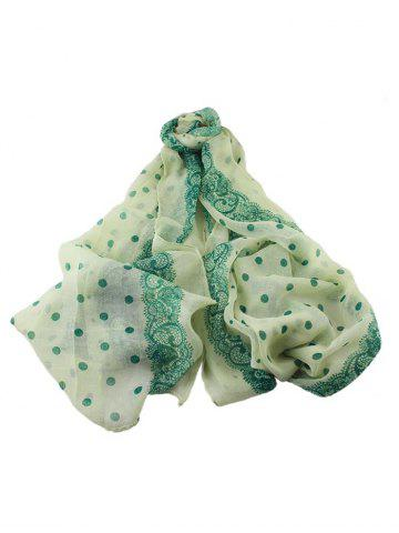 Polka Dot Flower Print Long Scarf