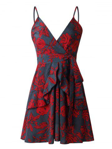 Flower Ruffled Cami Belted Dress