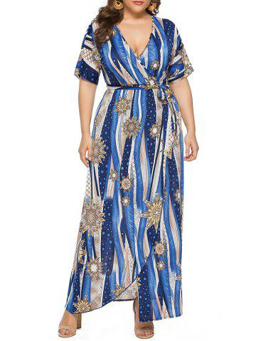Plus Size Front Slit Printed Maxi Surplice Dress