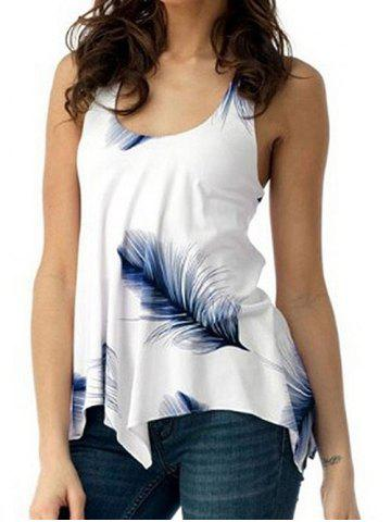 U Neck Feather Print Lace Up Tank Top
