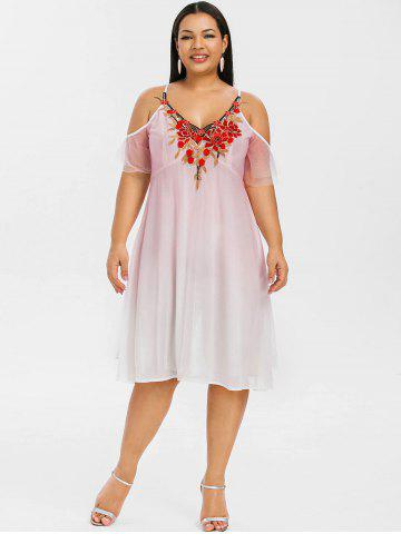 Plus Size Cold Shoulder Embroidered Empire Waist Dress