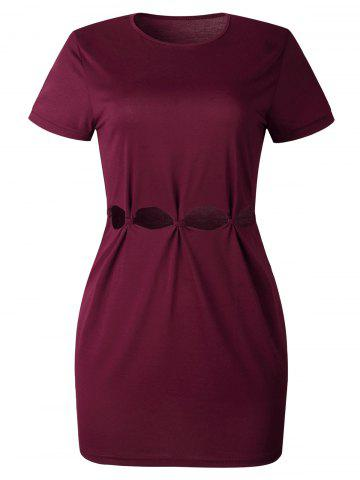 Hollow Out Mini Tee Dress