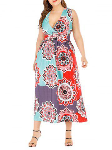 Sleeveless Printed Surplice Plus Size Dress