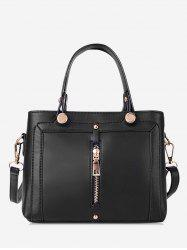 Simple Zip Design Portable Handbag -
