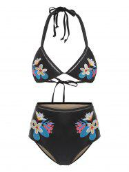 Halter Tied Flower Embroidered Bikini Set -