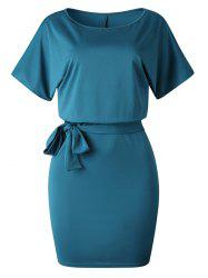 Knee Length Belted Tight Dress -