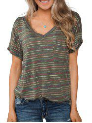 Striped Rolled Sleeves Pocket T-shirt -