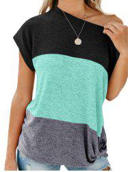 Color Block Skew Neck T-shirt -
