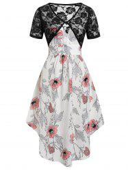 Plus Size Floral Midi Dress With Lace Top Twinset -